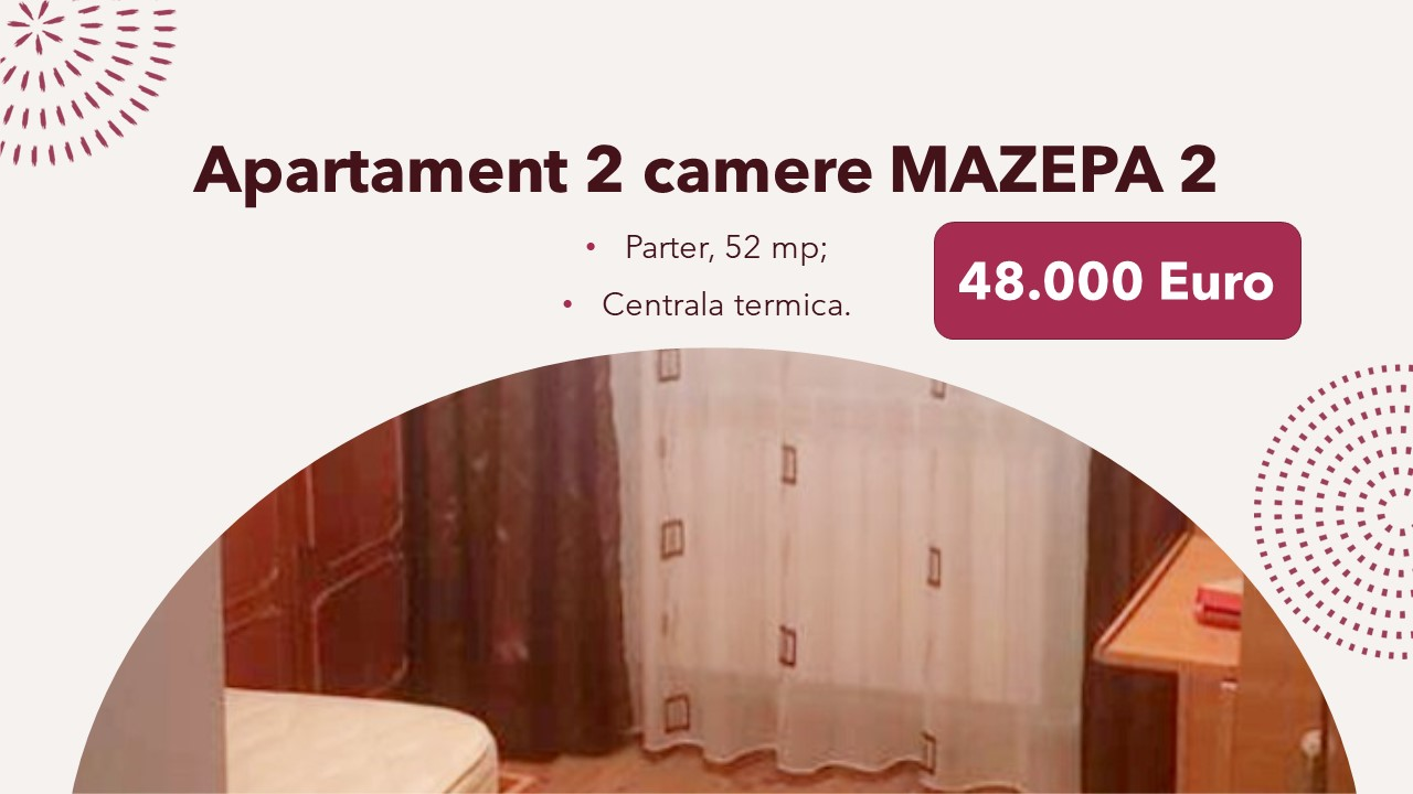 Apartament 2 camere, central, parter, pret accesibil